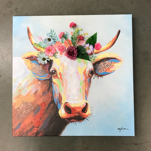 Bohemian Flower Crown Cow Painting Wall Art vegan